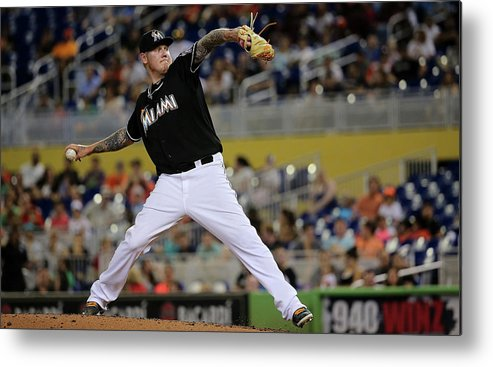 People Metal Print featuring the photograph Mat Latos by Mike Ehrmann