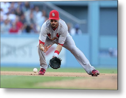 St. Louis Cardinals Metal Print featuring the photograph Matt Carpenter and A. J. Ellis by Stephen Dunn