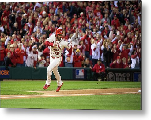 St. Louis Cardinals Metal Print featuring the photograph Matt Carpenter and Matt Holliday by Ron Vesely