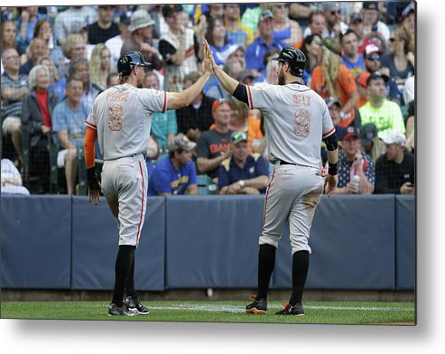 People Metal Print featuring the photograph Matt Duffy, Hunter Pence, and Brandon Belt by Mike Mcginnis