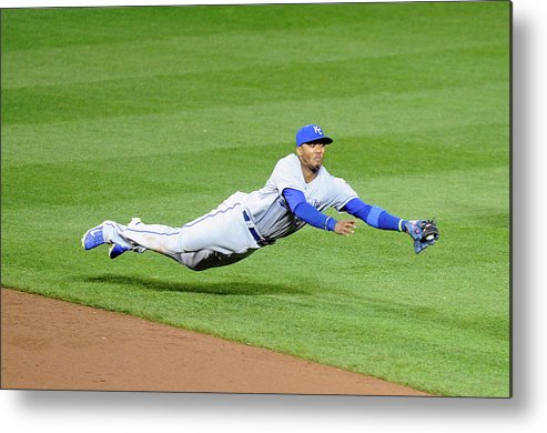 American League Baseball Metal Print featuring the photograph Matt Wieters and Alcides Escobar by Greg Fiume