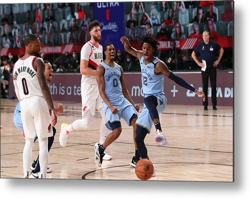 Nba Pro Basketball Metal Print featuring the photograph Memphis Grizzlies v Portland Trail Blazers by Joe Murphy