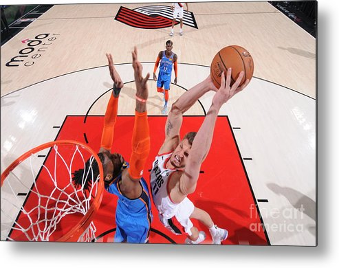 Meyers Leonard Metal Print featuring the photograph Meyers Leonard by Sam Forencich