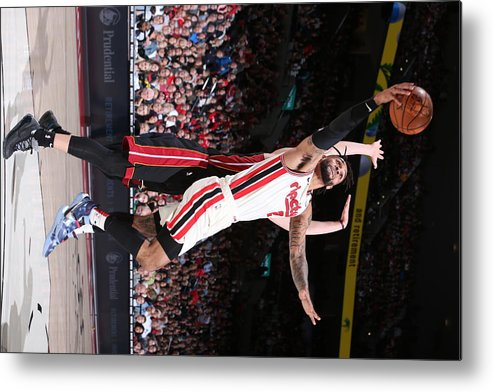 Nba Pro Basketball Metal Print featuring the photograph Miami Heat v Portland Trail Blazers by Sam Forencich
