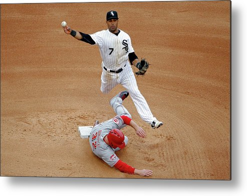 People Metal Print featuring the photograph Micah Johnson and Jay Bruce by Jon Durr