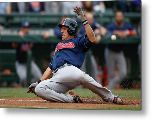American League Baseball Metal Print featuring the photograph Michael Brantley and Asdrubal Cabrera by Otto Greule Jr
