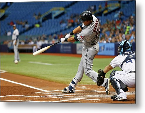 Baseball Catcher Metal Print featuring the photograph Michael Brantley, Rene Rivera, and Jason Kipnis by Brian Blanco