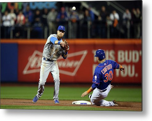 Playoffs Metal Print featuring the photograph Michael Conforto and Ben Zobrist by Brad Mangin