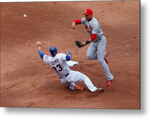 St. Louis Cardinals Metal Print featuring the photograph Michael Cuddyer And Jhonny Peralta by Mike Stobe