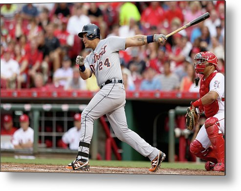 Great American Ball Park Metal Print featuring the photograph Miguel Cabrera by Andy Lyons