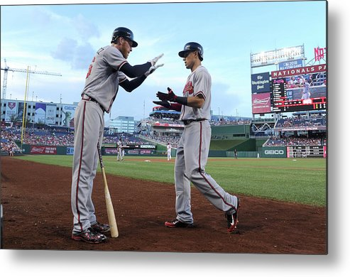 Second Inning Metal Print featuring the photograph Mike Foltynewicz And Jace Peterson by Greg Fiume