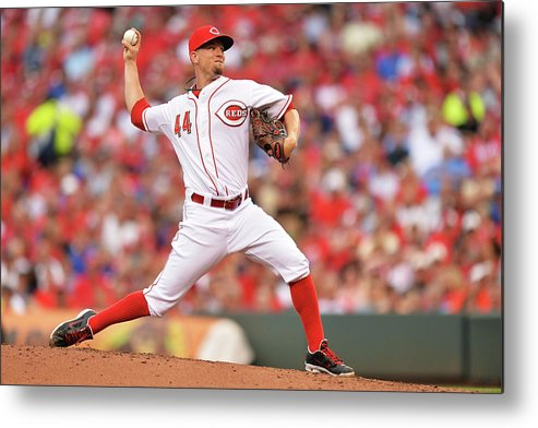 Great American Ball Park Metal Print featuring the photograph Mike Leake by Jamie Sabau