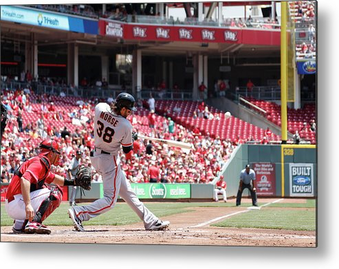 Great American Ball Park Metal Print featuring the photograph Mike Morse by Joe Robbins