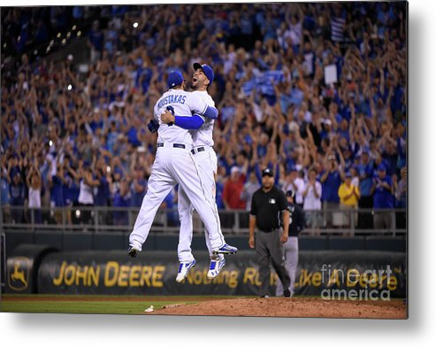 People Metal Print featuring the photograph Mike Moustakas and Eric Hosmer by Ed Zurga