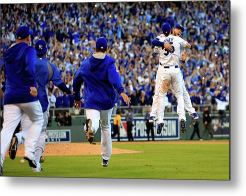 American League Baseball Metal Print featuring the photograph Mike Moustakas and Eric Hosmer by Jamie Squire