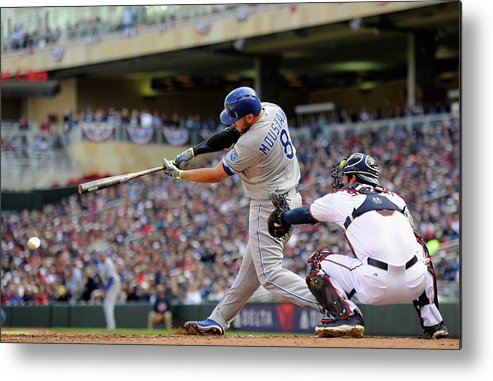 Second Inning Metal Print featuring the photograph Mike Moustakas by Hannah Foslien