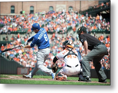 American League Baseball Metal Print featuring the photograph Mike Moustakas by Rob Tringali