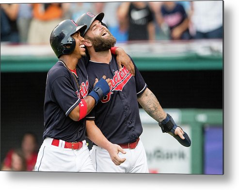 Three Quarter Length Metal Print featuring the photograph Mike Napoli, Lonnie Chisenhall, and Francisco Lindor by Jason Miller