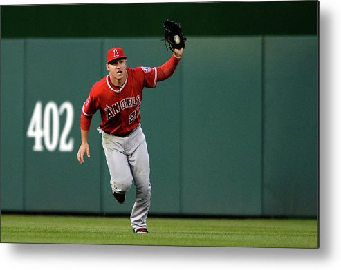 Mike Trout Metal Print featuring the photograph Mike Trout and Bryce Harper by Patrick Smith