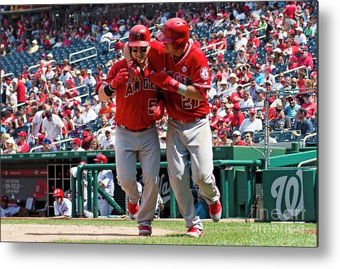People Metal Print featuring the photograph Mike Trout and Kole Calhoun by Patrick Mcdermott