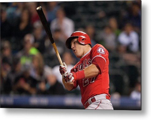 Three Quarter Length Metal Print featuring the photograph Mike Trout by Dustin Bradford