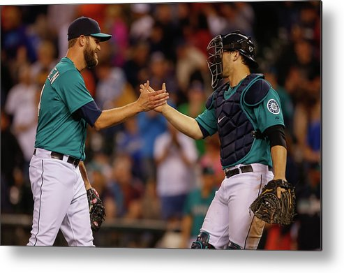 Baseball Catcher Metal Print featuring the photograph Mike Zunino and Tom Wilhelmsen by Otto Greule Jr