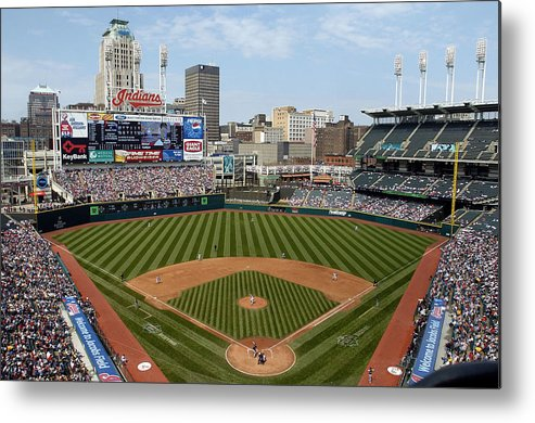 American League Baseball Metal Print featuring the photograph Minnesota Twins v Cleveland Indians by David Maxwell