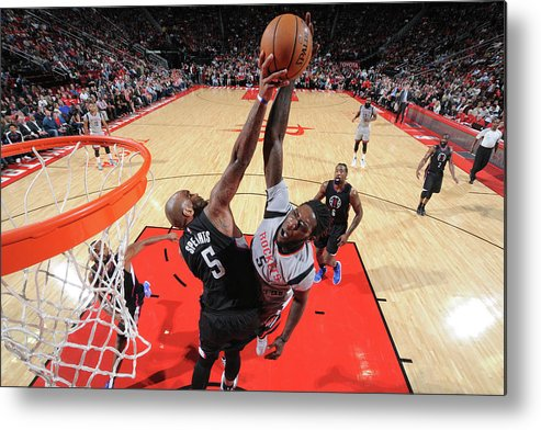 Nba Pro Basketball Metal Print featuring the photograph Montrezl Harrell and Marreese Speights by Bill Baptist