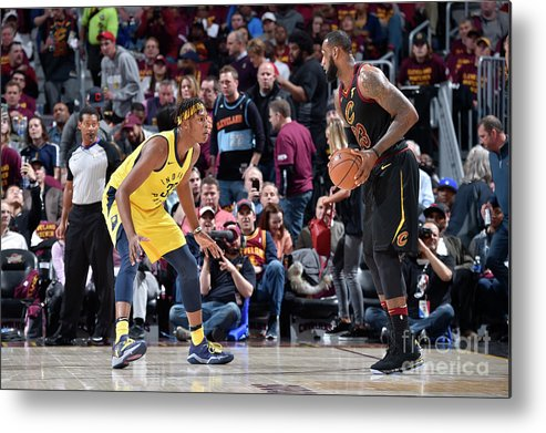 Playoffs Metal Print featuring the photograph Myles Turner and Lebron James by David Liam Kyle