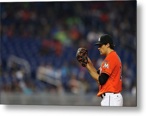 American League Baseball Metal Print featuring the photograph Nathan Eovaldi by Mike Ehrmann