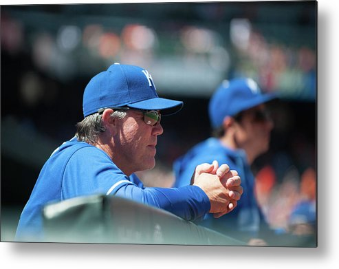 American League Baseball Metal Print featuring the photograph Ned Yost by Rob Tringali
