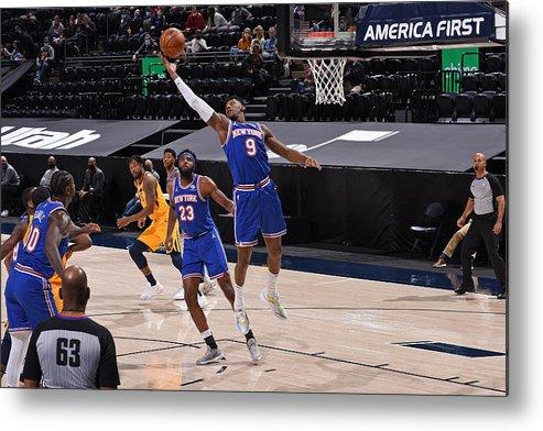Nba Pro Basketball Metal Print featuring the photograph New York Knicks v Utah Jazz by Garrett Ellwood