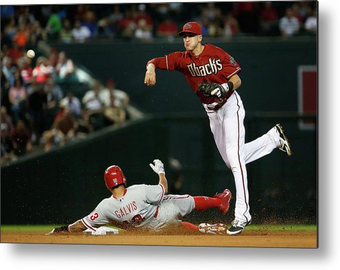 Double Play Metal Print featuring the photograph Nick Ahmed and Freddy Galvis by Christian Petersen