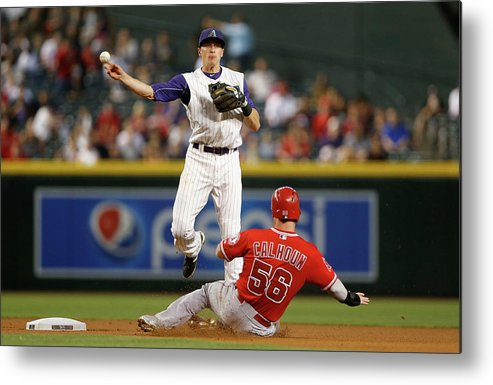 Double Play Metal Print featuring the photograph Nick Ahmed and Kole Calhoun by Christian Petersen