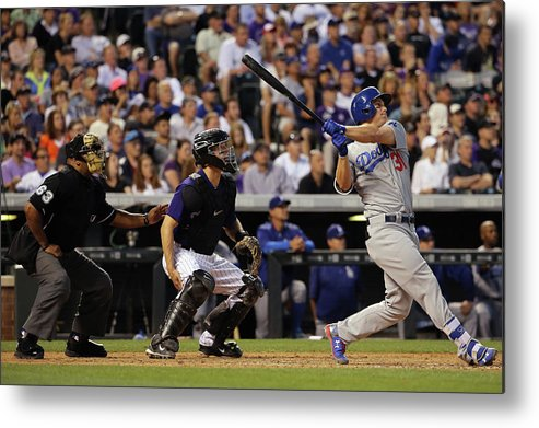 Baseball Catcher Metal Print featuring the photograph Nick Hundley and Joc Pederson by Doug Pensinger