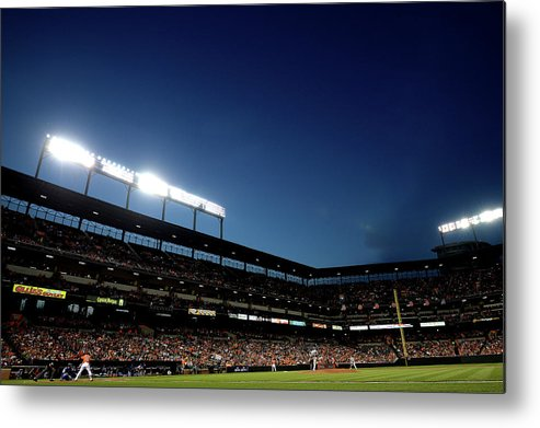 Working Metal Print featuring the photograph Nick Markakis and Drew Hutchison by Patrick Smith