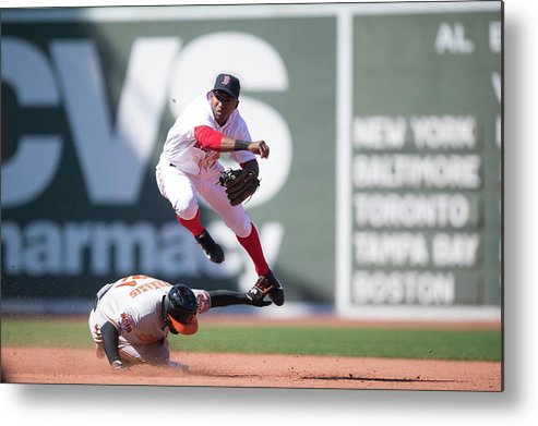 East Metal Print featuring the photograph Nick Markakis, Jonathan Herrera, and Xander Bogaerts by Rob Tringali