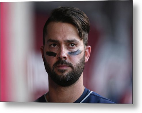 American League Baseball Metal Print featuring the photograph Nick Swisher by Jeff Gross