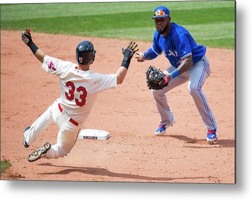 American League Baseball Metal Print featuring the photograph Nick Swisher, Jose Reyes, and Jason Kipnis by Jason Miller