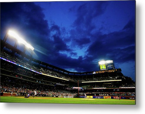 People Metal Print featuring the photograph Noah Syndergaard and Brandon Belt by Al Bello
