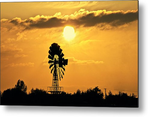 Sky Metal Print featuring the photograph Old Windmill At Sunset by Bernd Schunack