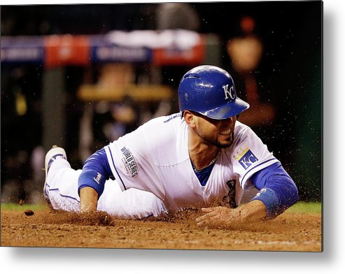 People Metal Print featuring the photograph Omar Infante and Alcides Escobar by Ezra Shaw