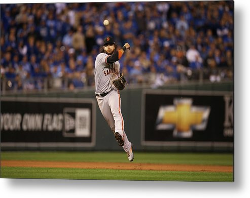 Playoffs Metal Print featuring the photograph Omar Infante and Brandon Crawford by Brad Mangin
