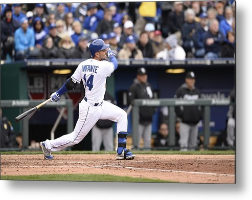 American League Baseball Metal Print featuring the photograph Omar Infante by John Williamson