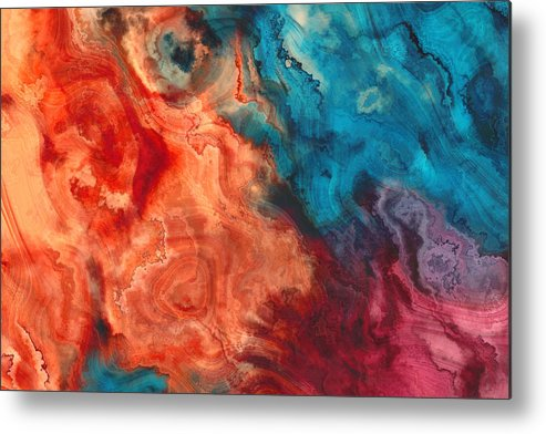 Art Metal Print featuring the photograph Orange Blue Purple Abstract Watercolor art painted background by Oxygen