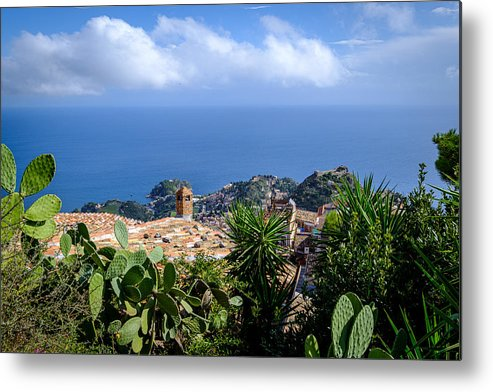 Viewpoint Metal Print featuring the photograph Overview of taormina and the mediterranian from Castella Di Mola in Castelmola, Taormina,Sicily by Finn Bjurvoll Hansen