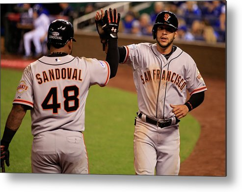 People Metal Print featuring the photograph Pablo Sandoval And Gregor Blanco by Jamie Squire