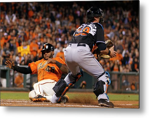 San Francisco Metal Print featuring the photograph Pablo Sandoval and Jarrod Saltalamacchia by Jason O. Watson