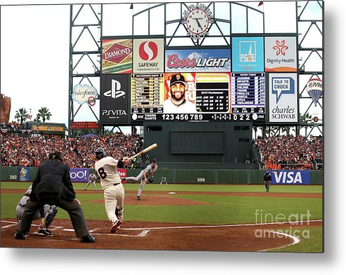 Viewpoint Metal Print featuring the photograph Pablo Sandoval and Justin Verlander by Ezra Shaw