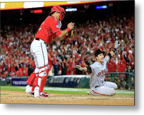 Game Two Metal Print featuring the photograph Pablo Sandoval, Wilson Ramos, and Buster Posey by Rob Carr